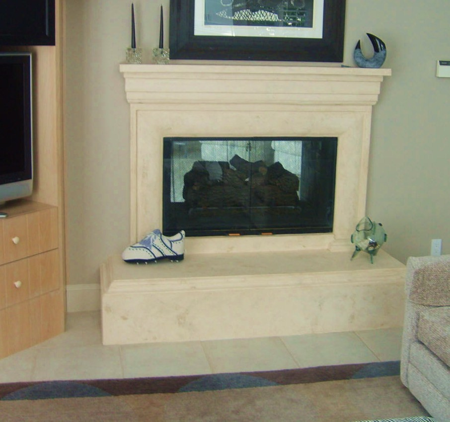 Private residence at Leawood KS, Scagliola fireplace mantel