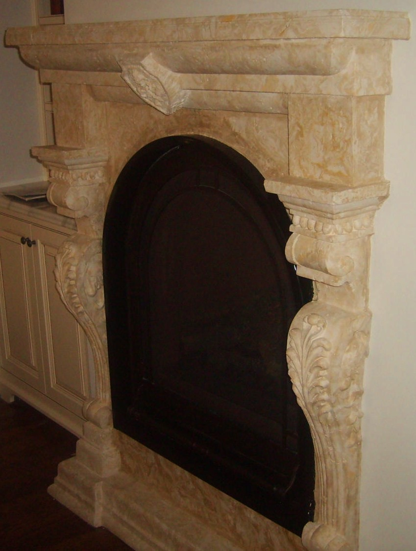Mission Hills, Custom Scagliola Fireplace mantel
