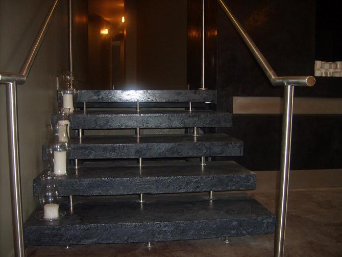 Self supporting terazzo stairs, Kansas City Plaza